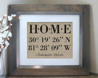 Housewarming Gift, New Home Housewarming Gift, Our First Home, House Warming Gift, Latitude Longitude Sign Address Sign, Mothers Day Gift