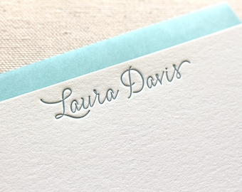 Letterpress Calligraphy Style Personalized Stationery, Set of 50 or more, note cards, anniversary, thank you, coworker gift, bridesmaid S145