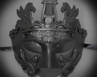 Men's Masquerade Mask, Roman Mask, Masquerade Ball Mask, Men's Mask, Sun God Dance Mask - Black