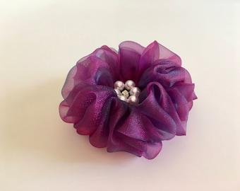 Full Ruffle Flower Clip