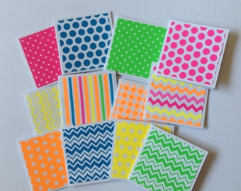 Neon mini card set, bright patterns, blank cards, fluro, thank you cards, note cards, gift colourful. Set of 12