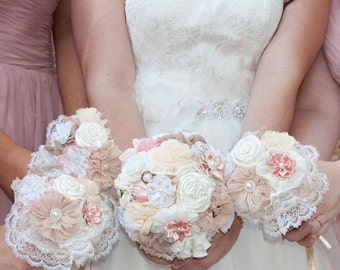 wedding bouquet set, fabric flowers bridal bouquet bridesmaids bouquets blush latte ivory bouquet deposit