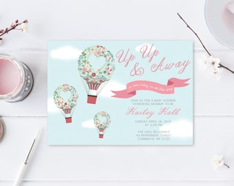 Baby Shower Invitation, Floral Baby Shower Invitation, Hot Air Balloon Baby Shower, Hot Air Balloon Invitation, Printable Invitation [187]
