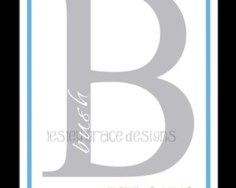 Typography, Family Initial Monogram, digital print, 11x14
