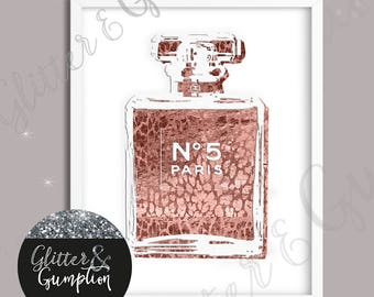 Rose Gold Copper Fashion Perfume Bottle Sketch foil effect