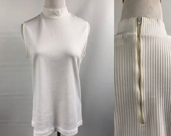 Ribbed White Vintage sz L High Neck Sleeveless Top