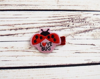 Handcrafted Glitter Love Bug Feltie Clip - Baby Valentine Hair Clip - Ladybug Birthday Bow - Small Hair Clip - Toddler Hair Accessory - Gift