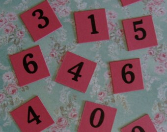 Vintage Pink Numbered Anagrams One Dozen