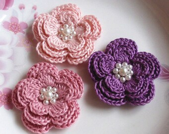 3 Crochet Flowers With Pearls In Lt pink, Dusty pink, Purple  YH-157-01