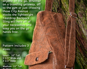 The Teardrop Sling Bag PDF Sewing Pattern  3 Sizes Included  RLR Creations