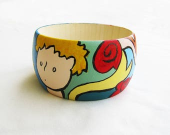 THE LITTLE PRINCE Handpainted wooden bangle, petit prince bracelet, gift, little prince jewelry, christmas gift