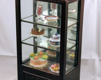 "Dollhouse Miniature 1"" scale Bespaq  Dining Hutch  for fine china or Bakery Shop Mirrored Case including bakery delicassies"