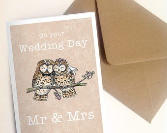 Downloadable print your own card. Cute owl wedding card