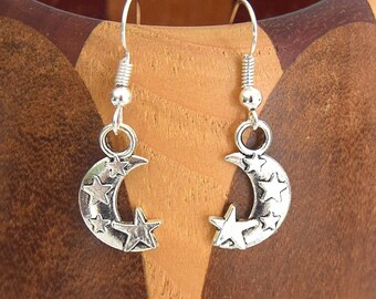 Croissant earrings silver moon stars, moons growing clips silver stars