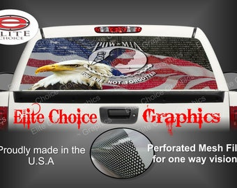 POW 911 Tribute Flag Patriotic Rear Window Graphic Tint Decal Sticker Truck SUV Van Car
