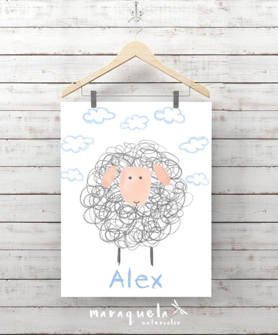 SHEEP ILLUSTRATION baby BOY with name,personalized,little one,baby,children,kids bedroom,room,babies shower,gift,nursery,decor,wall,decor