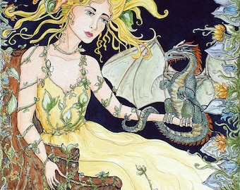 Giclee Print Dragon and Wood Nymph Fairy Fantasy Art by Rebecca Salcedo FFAW