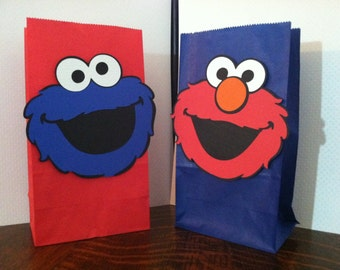 Super Cute Set of (6) Elmo and/or Cookie Monster (Heads) Paper Sack Goody Bags