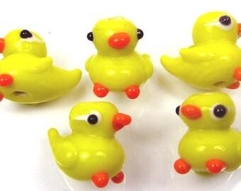 5 Lampwork Handmade Glass Yellow Duck Beads (L341)