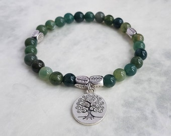 Moss Agate Bracelet with Tree of Life Charm - Beads - Spiritual - Yoga - Boho - Gipsy - Ethnic - Jewellery - Valentine's Day - Gift For Her