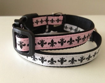 1/2 inch Small Fleur De Lis Collar in Black and White or Black and Pink