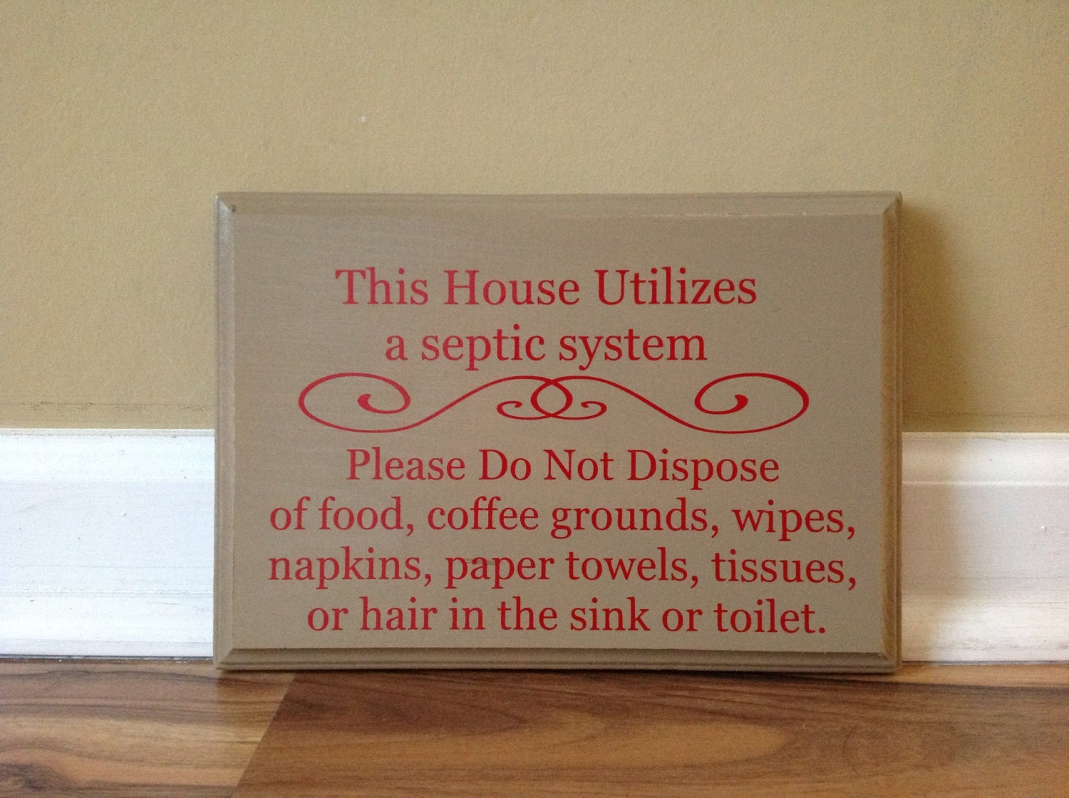 Septic System Rules Wooden Sign Plaque Do Not Flush Sign