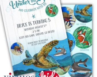 UNDER the SEA Ocean Sea Turtle Printable Birthday Party Invitation Realistic Customizable - Printing Available