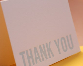 Letterpress Thank You Cards : Sky Blue Modern Block Thank You Notes - box of 5 small folded cards w mustard yellow colored envelopes