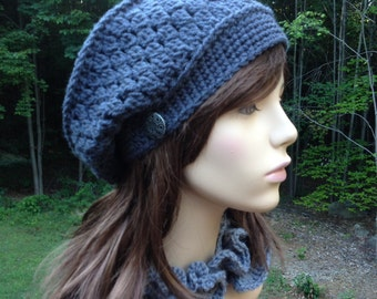 Slouchy Beret with Side Button