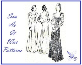 "1940s FF Unused Butterick 4115 Evening Basque Waist Dress Square Neckline Flutter Long Sleeves Vintage Sewing Pattern Size 18 Bust 36"" 92cm"