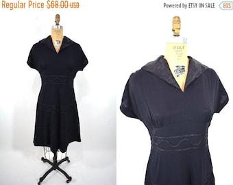 "1940s crepe dress   black crepe dolman sleeve dress   vintage 40s dress   W 30"""