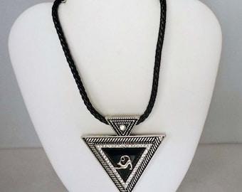 Dramatic Black Silver Rhinestone Pendant w Playbow Greyhound, Leather Necklace