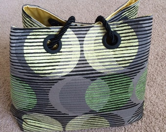 Large Mod Circles on Gray Handbag, Black, Green and Pale Yellow Circles, Bright Yellow Satiny Interior and Rope Cinch Handles