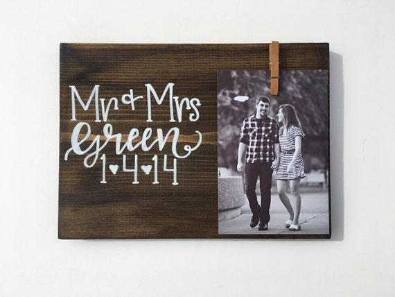 Wedding Date Picture Frame Custom Wedding Gift for Couples