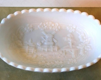 """IMPERIAL GLASS Milk Glass """"WINDMILL"""" Relish or Pickle Dish - Lovely Signed Collectible - 1950's Vintage"""