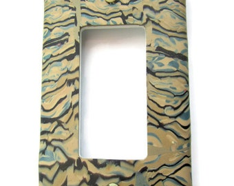 Light Switch Cover, Single Switch Plate, Rocker Switchplate in Beige and Blue with Black Accents