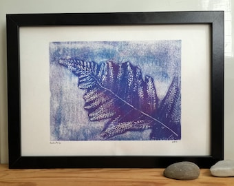 Fern monoprint, monotype, fern leaf, floral print, original artwork, abstract art, lilac print art, blue garden plant, forest plant, jungle