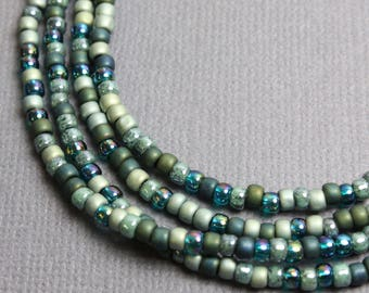 Seed Bead Necklace, Layering Necklace, Sage Green Necklace, Blue Green Necklace, Long Bead Necklace, Long Green Necklace,MultiColor Necklace