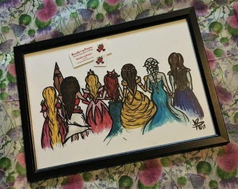 Hand Drawn Disney Princesses Combination Print