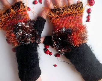 Women Size M 20% OFF Ready To Ship Accessories Fingerless Mittens Warm Wrist Warmers Gloves Hand Knitted Crochet Wool Winter Cabled 628