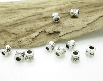 Small Silver  Spacer Bead, 4x4mm, 2mm Stringing Hole (20)