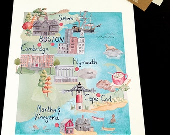 Map of New England. Signed Limited Edition Giclee Print of an Original Illustration. In Watercolour.