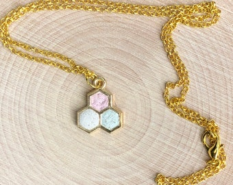 Minimalist necklace - three gold hexagons made with concrete in pink, white and seafoam on gold plated chain