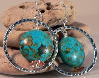 Silver Hoop Earrings, Turquoise Blue Mosaic, Drop & Dangle Earrings, Statement Earrings, Hoop Earrings, Wedding Jewelry
