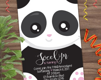 Panda Party Invitation - First Birthday Invite - 1st - Black, White and Pink - Printable or Printed - SHIPPING INCLUDED - 4x6