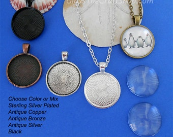 20 Round Pendant Kits - 25mm (1 inch) Trays and Glass Cabochons with 24 inch Rolo Chains. (KITRDTRC)