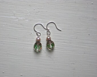 Faceted Pink and Green Crystal and Mauve Freshwater Pearl Earrings on Sterling Silver