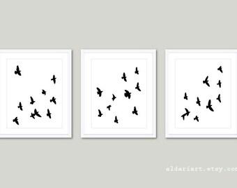 Birds Art Prints - Birds Wall Art - Modern Decor - Minimalist Bird Art - Black and White Birds Art - Bird Decor - Bird Wall Art - Aldari Art