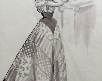 Fashion illustration - Woman in Evening Dress- Fashion prints - fashion sketches - Fashion poster