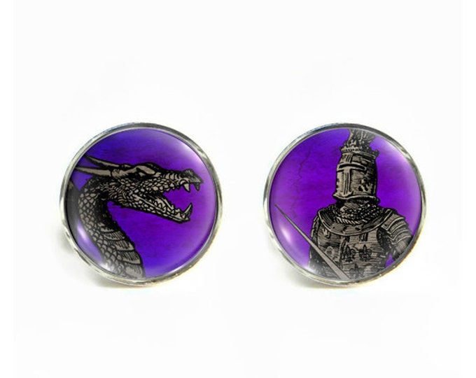 Knight and Dragon small post stud earrings Stainless steel hypoallergenic 12mm Gifts for her